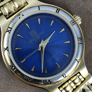 Vintage Givenchy Paris Blue Dial 18K GP Gold Watch
